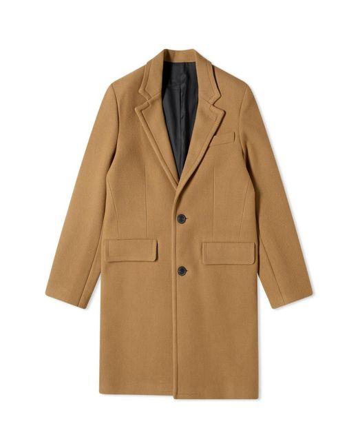 AMI Brown Wool Overcoat for men