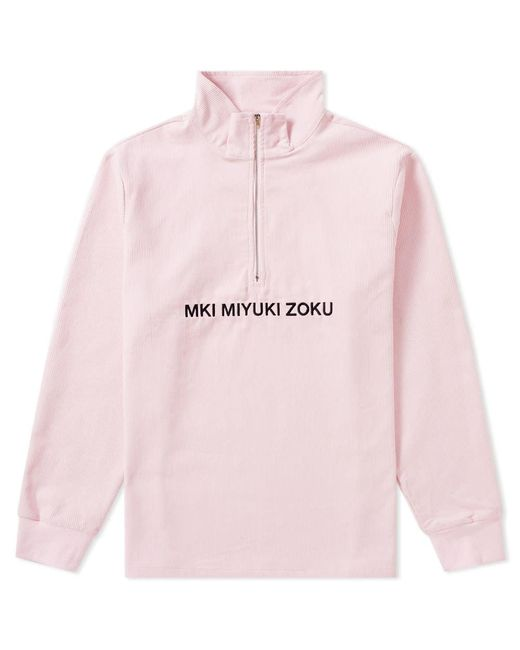 MKI Miyuki-Zoku Pink Corduroy Quarter Zip Top for men