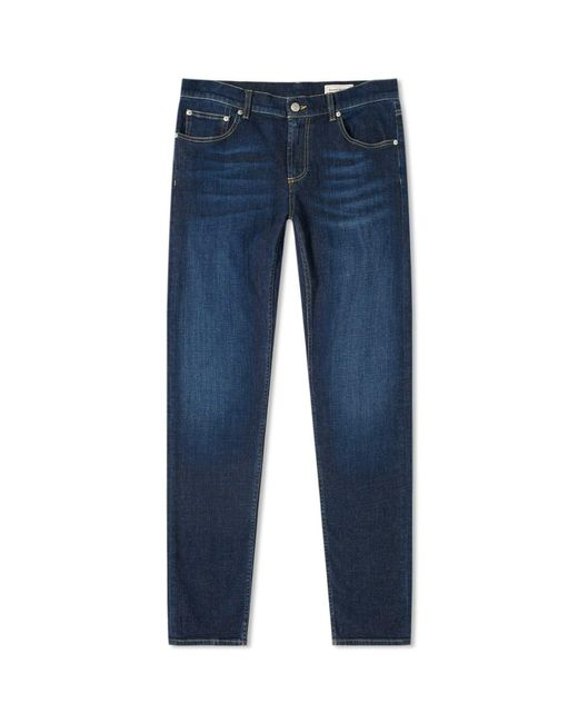 Alexander McQueen Blue Logo Embroidered Jean for men