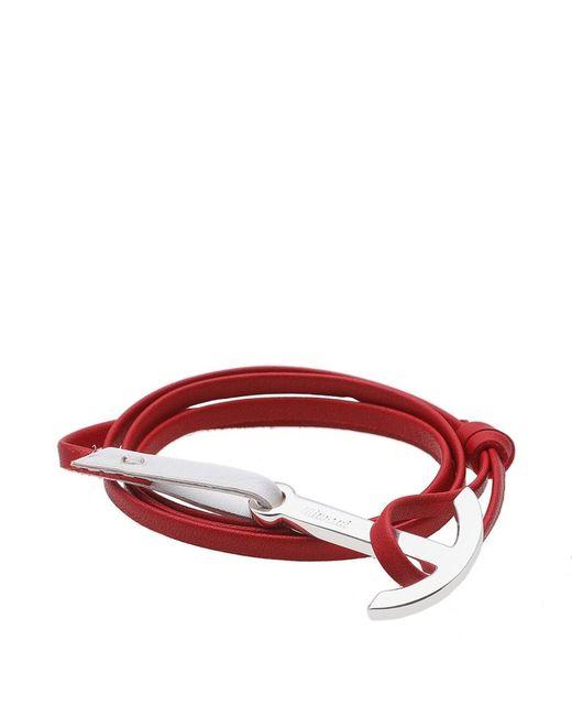 Miansai - Red Silver Anchor Leather Bracelet for Men - Lyst