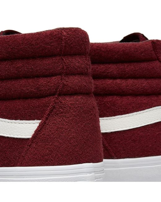 bd266cdee1e429 ... Vans - Red Sk8-hi Reissue Terry for Men - Lyst ...
