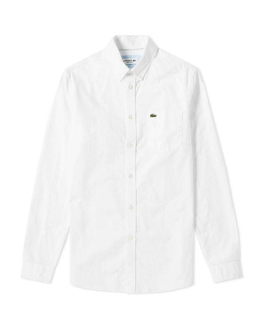 Lacoste White Button Down Oxford Shirt for men