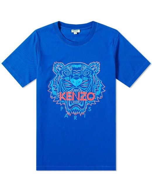 d84d58bf1 KENZO - Blue Bicolour Tiger Face Tee for Men - Lyst ...