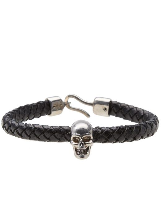 Alexander McQueen | Black Skull Leather Bracelet for Men | Lyst