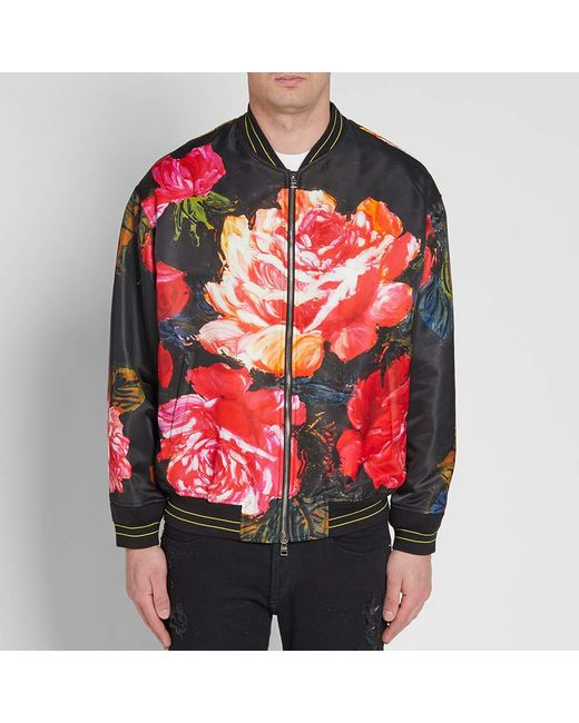 43fa7320a Alexander McQueen Synthetic Rose Print Bomber Jacket in Black for ...