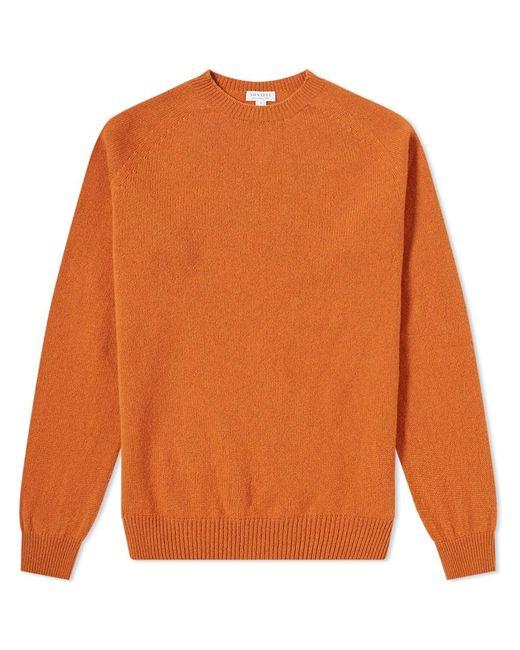 Sunspel Orange Lambswool Crew Knit for men
