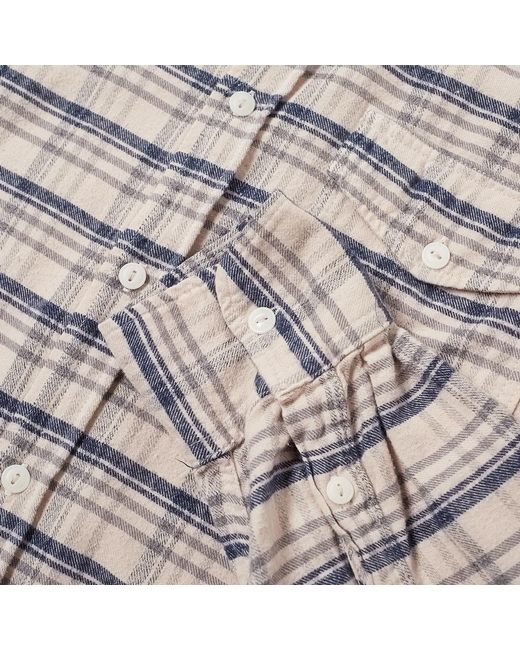 Save Khaki Plaid Flannel Work Shirt In Pink For Men Lyst