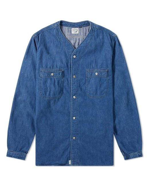 f70e9fa264 Orslow - Blue No Collar Shirt for Men - Lyst ...