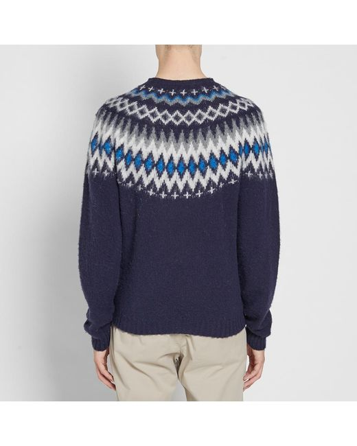 Lyst - Norse projects Birnir Fair Isle Crew Knit in Blue for Men ...
