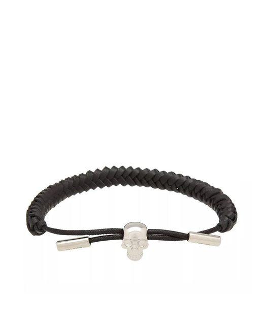 Alexander McQueen - Black Skull Woven Leather Bracelet for Men - Lyst