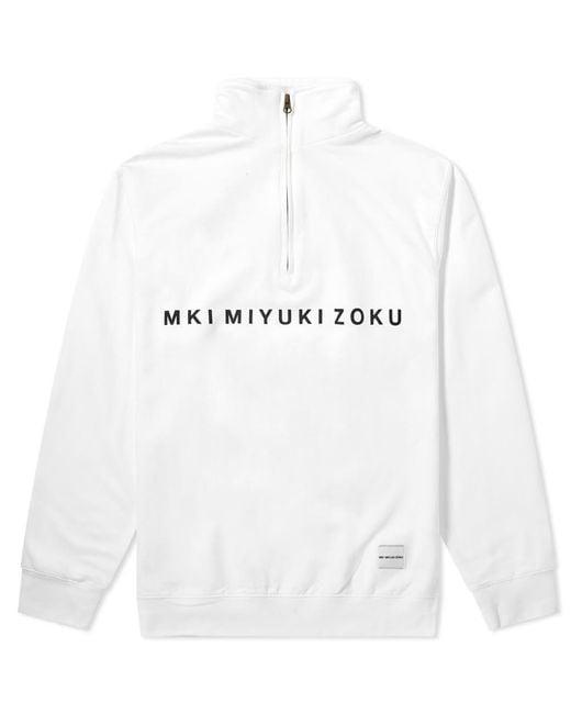 MKI Miyuki-Zoku White Quarter Zip Sweat for men