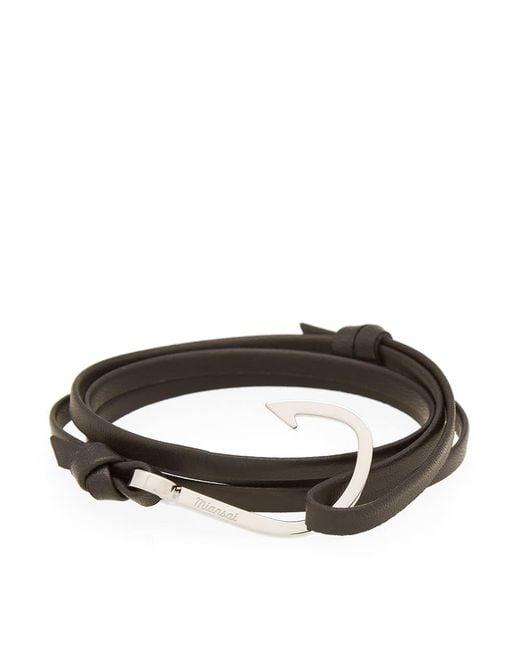 Miansai - Black Silver Hook Leather Bracelet - Lyst