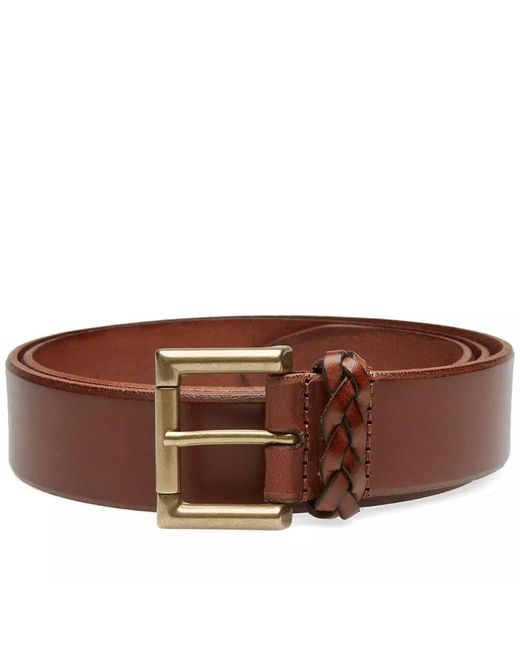 547ee705476 Andersons - Brown Anderson s Burnished Leather Woven Trim Belt for Men -  Lyst ...