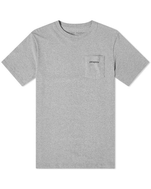 Patagonia Gray P6 Logo Pocket Tee for men