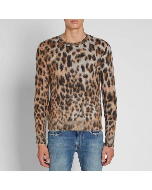 205b639753e ... Saint Laurent - Brown Leopard Print Mohair Crew Knit for Men - Lyst ...