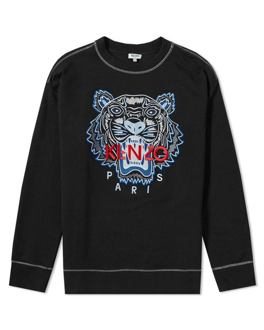 7a33dbdd KENZO - Black Contrast Stitch Embroidered Tiger Crew Sweat for Men - Lyst  ...
