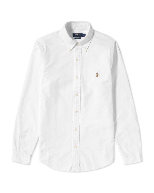 Lyst polo ralph lauren slim fit button down oxford shirt for Slim fit white button down shirt