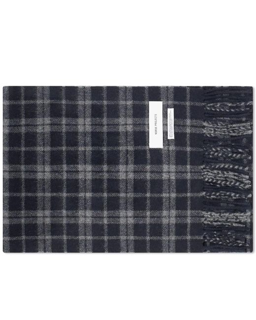 Norse Projects Blue Lambswool Check Scarf for men