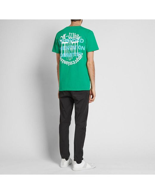 ad72d6b73444 Lyst - Off-White c o Virgil Abloh College Tee in Green for Men ...