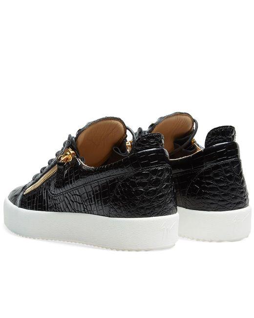 8f07bca12ff30 ... Giuseppe Zanotti - Black Double Zip Low Croc Sneaker for Men - Lyst ...
