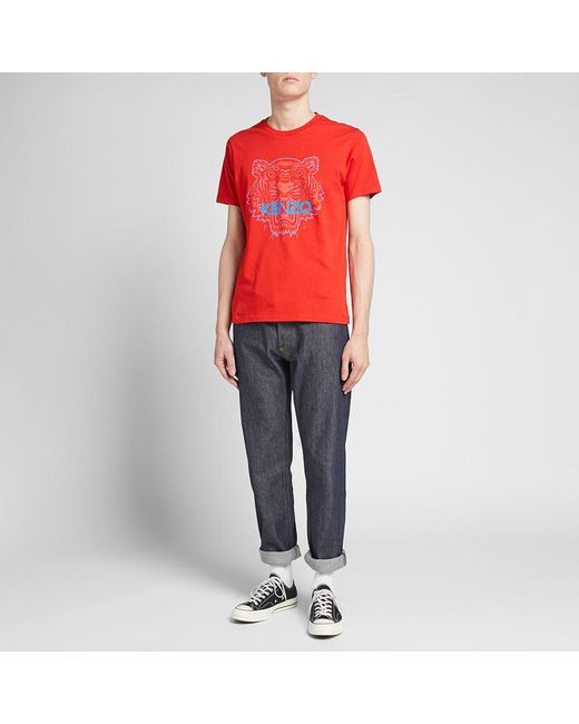 4648bd32b7a ... KENZO - Red Bicolour Tiger Face Tee for Men - Lyst