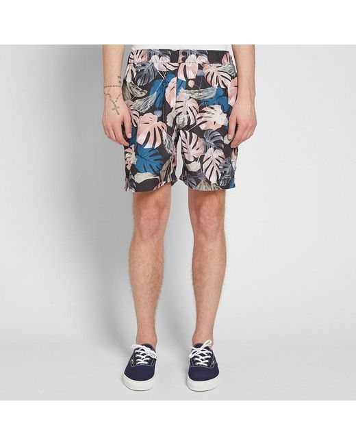 828edbca7e102 ... Saturdays NYC - Black Trent Monstera Swim Short for Men - Lyst ...