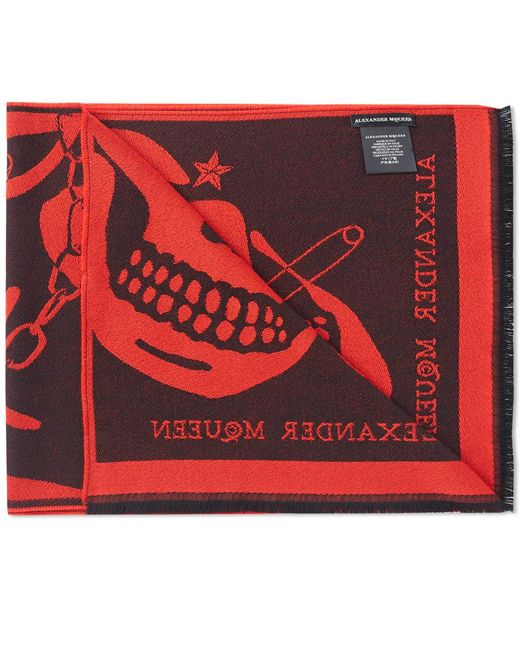 Alexander McQueen | Red Large Skull Scarf for Men | Lyst