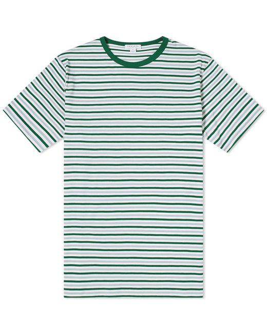 eaac8e38461 Sunspel English Stripe Contrast Rib Tee in Green for Men - Save 36 ...