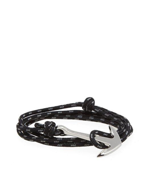 Miansai - Black Silver Anchor Rope Bracelet - Lyst