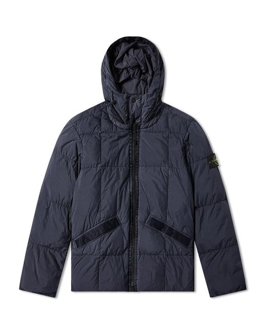 Stone Island Blue Crinkle Reps Hooded Down Jacket for men