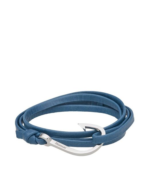 Miansai - Blue Silver Hook Leather Bracelet for Men - Lyst