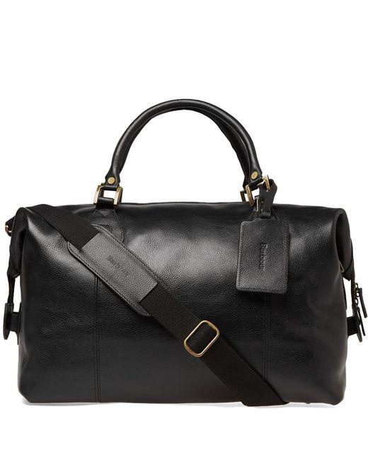 Barbour Black Leather Medium Travel Explorer for men