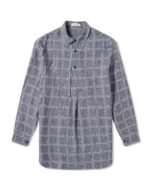 J.W. Anderson Blue Logo Grid Tunic Linen Shirt for men