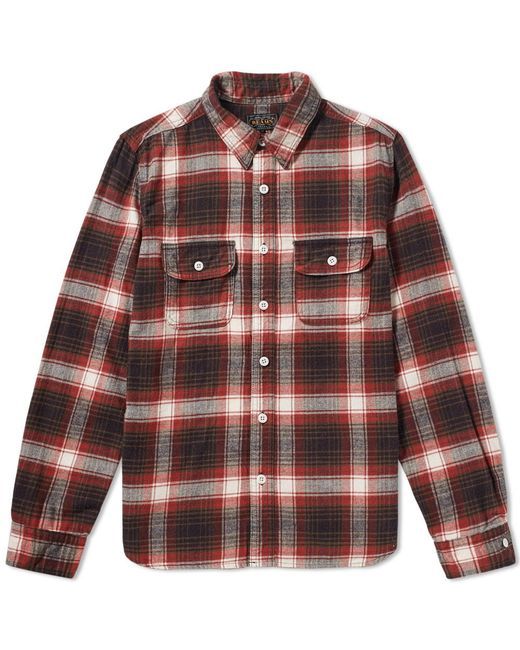Beams Plus - Red Flannel Work Shirt for Men - Lyst