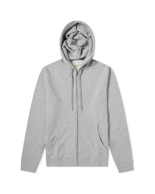 Sunspel Gray Loopback Zip Hoody for men