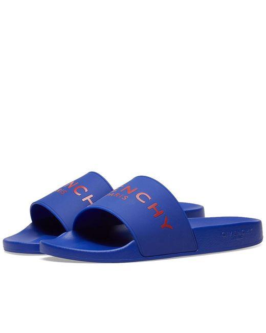 Givenchy - Blue Logo Pool Slides for Men - Lyst