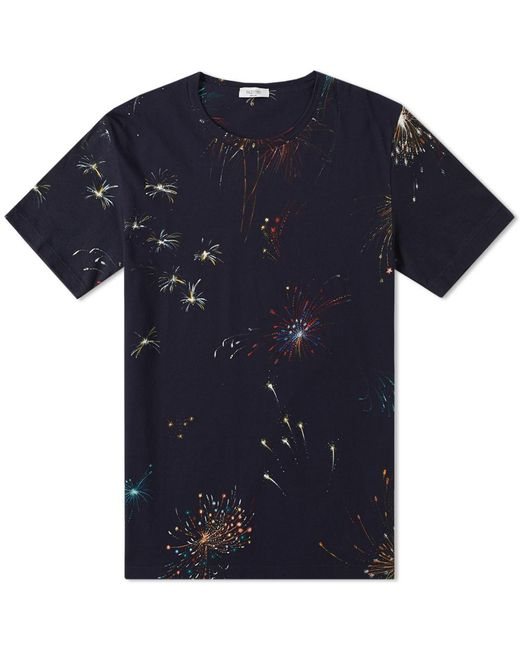 Valentino | Blue Fireworks Print Tee for Men | Lyst