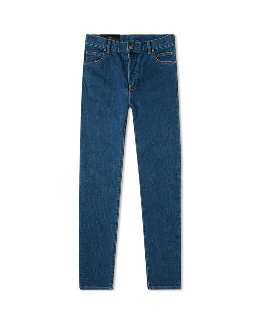 Balmain Blue Monogram Embossed Pocket Mid Wash Slim Jean for men