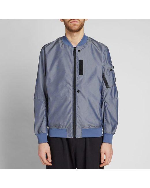 bc2f9d5b9 Men's Blue Lenticular Jacquard Zip Bomber Jacket