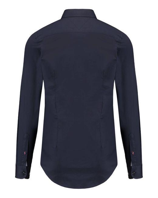 """Tommy Hilfiger Hemd """"Stretch Poplin Sf2"""" Slim Fit Langarm in Blue für Herren"""
