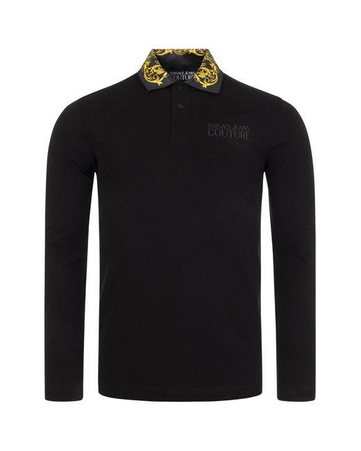 Versace Jeans Black Long Sleeved R Baroque Cotton Piquet Polo Shirt for men