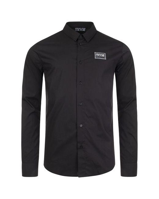 Versace Jeans Black Slim Fit Label Stretch Shirt for men