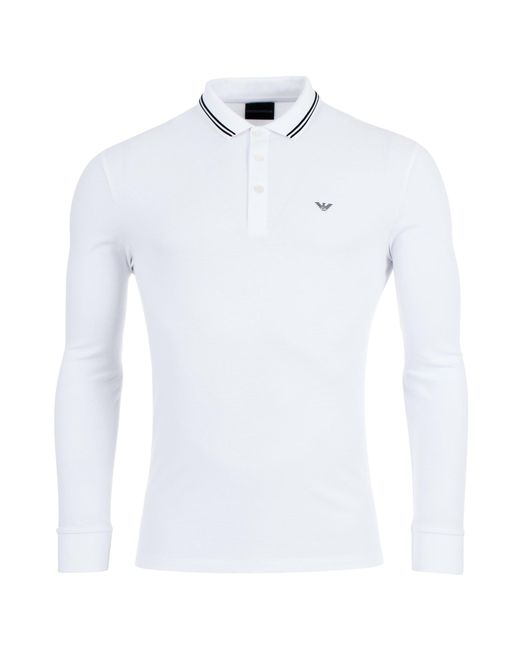 57387cf5 Emporio Armani - White Long Sleeve Tipped Polo Shirt for Men - Lyst ...