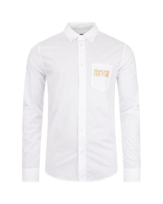 Versace Jeans White Long Sleeve Pocket Gold Logo Shirt for men