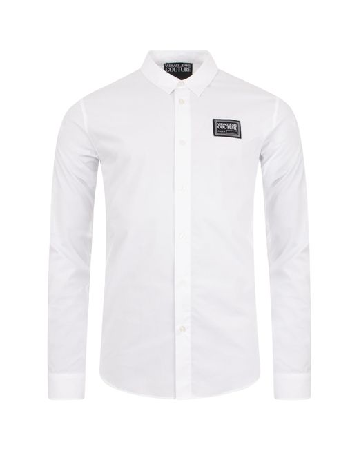 Versace Jeans White Slim Fit Label Stretch Shirt for men