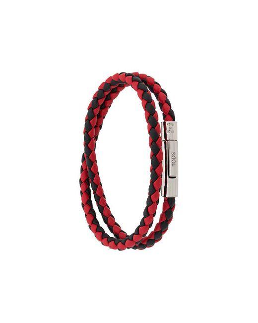 Tod's Red Woven Bracelet for men