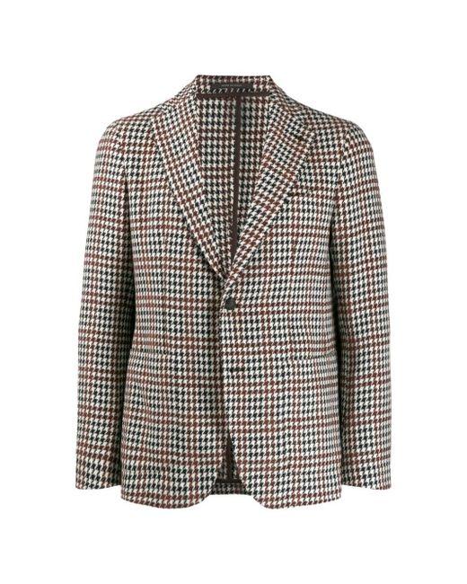 Tagliatore Brown Slim-fit Houndstooth Blazer for men