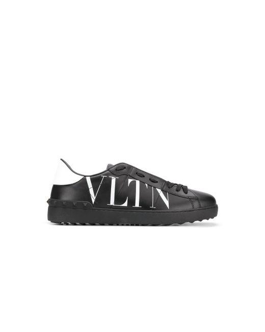 Valentino Black Valentino Garavani Open Trainer With Vltn Logo for men