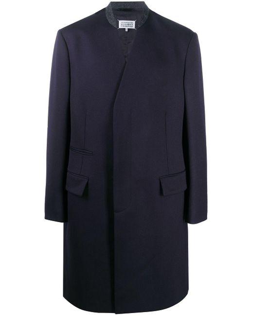 Maison Margiela Blue Four-stitch Wool Coat for men