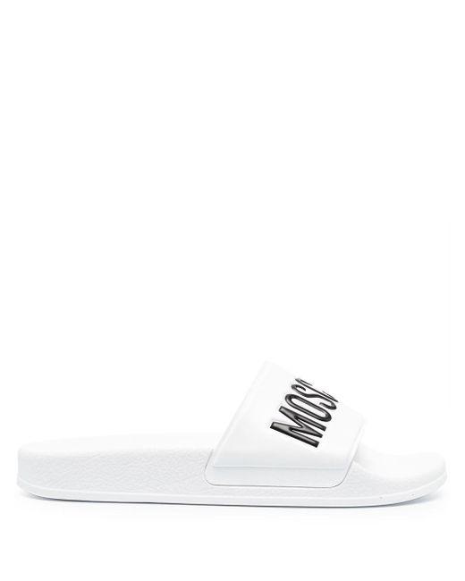 Moschino White Logo-print Slide Sandals